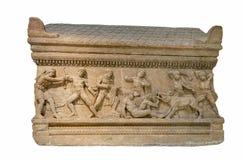 Roman periode marmeren zolderdiesarcofaag in de Peloponnesus, Griekenland wordt gevonden Stock Fotografie
