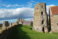 The roman pharos and the castle of Dover. In Britain Stock Images
