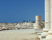 Roman Pillars. Roman City of Caesarea,Israel stock images
