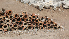 Roman Pipes. From the ancient city of Ephesus, located in the southwest Turkey Royalty Free Stock Images