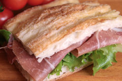 Roman pizza with cured ham and salad Stock Images