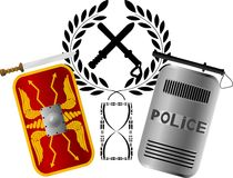 Roman and police shields Royalty Free Stock Photography