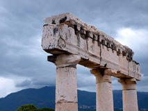 Roman Pompei Columns Top. Pompei , Italy. Roman Temple Columns against mountains Stock Photo