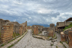 Roman Pompeii ruins after the eruption of Vesuvius, Italy Stock Images
