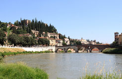 Roman Ponte Pietra over the Adige River, Verona Stock Photo