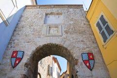 Roman poort. San Tweeling. Umbrië. Italië. Royalty-vrije Stock Foto