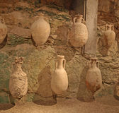 Roman pots on display inside Pula Amphitheatre Stock Photos