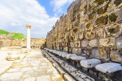 Roman public toilet in the ancient city of Bet Shean. View of the View of the Roman public toilet in the ancient city of Bet Shean, Northern Israel, Northern Stock Photo