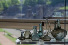 Roman recipients in Lugdunum museum. LYON, FRANCE, May 6, 2018 : Roman recipients found in Lyon. Lugdunum, The Roman Museum and Theaters of Lyon are situated on Stock Image