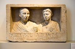 Roman relief. Publius Aiedius and Aiedia relief, Pergamon museum, Berlin Royalty Free Stock Photo