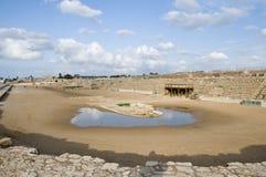 Roman renbaan in Caesarea Maritima Stock Afbeeldingen