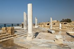 Roman rests of the Caesarea town, Israel Stock Photo