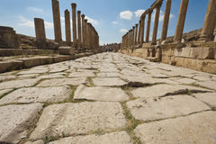 Roman road in Jerash, Jordan Stock Photos