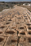 Roman road Syria. A Roman road located 40 km west of Aleppo. Formerly part of the main highway from Antioch to Chalcis. One of the longest stretches of Roman royalty free stock image