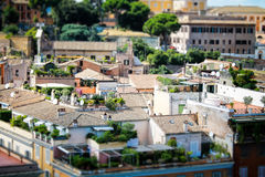 Roman roof gardens. In Rome residents often have gardens on the roofs of their houses, because they have dense buildings. This gives additional color for Eternal Royalty Free Stock Photo