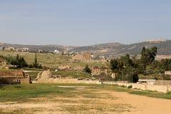 Roman ruïnes in de Jordanian stad van Jerash (Gerasa van Antiquiteit), Jordanië Stock Foto