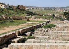 Roman ruïnes in de Jordanian stad van Jerash (Gerasa van Antiquiteit), Jordanië Royalty-vrije Stock Foto's