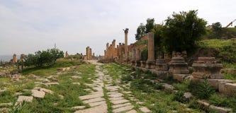 Roman ruïnes in de Jordanian stad van Jerash (Gerasa van Antiquiteit), Jordanië Royalty-vrije Stock Afbeeldingen