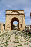 Roman ruïnes in de Jordanian stad van Jerash (Gerasa van Antiquiteit), Jordanië Stock Afbeelding