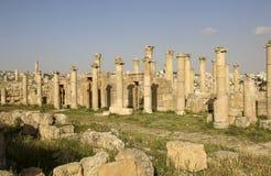 Roman ruïnes in de Oude Roman stad van Gerasa van Antiquiteit, moderne Jerash, Jordanië stock afbeeldingen