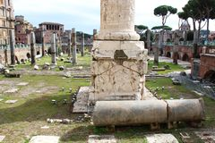 Roman ruïnes in Rome Stock Afbeelding