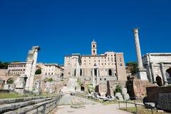 Roman ruïnes in Rome, Forum Stock Afbeeldingen