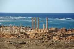 Roman ruïnes in Sabratha, Libië Stock Fotografie