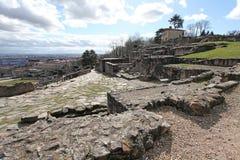 Roman ruïnes van Gallo in Lyon, Frankrijk Royalty-vrije Stock Fotografie
