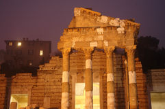 Roman ruin. In Brescia - Italy - by night Royalty Free Stock Images