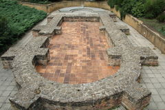 Roman ruin. In front of the cathedral in Pecs, Hungary stock image