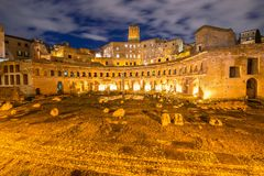 Roman ruines during evening hours Stock Photography