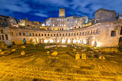 Roman ruines during evening hours Stock Photo