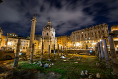 Roman ruines during evening hours in Rome Italy Stock Image