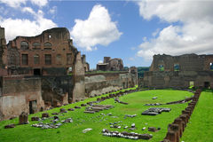 Roman ruins. With green grass Royalty Free Stock Image