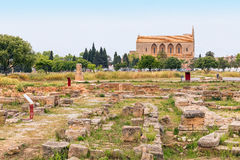 Roman Ruins Alcudia Old Town Mallorca Arkivbild