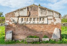 Roman ruins along the ancient Appian Way Appia Antica in Rome. stock photos