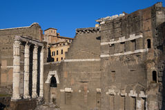 Roman ruins at ancient market in Rome Stock Image