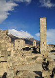 Roman ruins in Aosta, Italy. Roman theatre and ruins in the city of Aosta, Italian Alps Stock Images