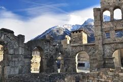 Roman ruins in Aosta, Italy. Roman theatre and ruins in the city of Aosta, (Valle Aosta) Italian Alps Stock Photos