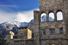 Roman ruins in Aosta, Italy. Ancient theatre. Stock Images