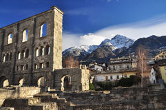 Roman ruins in Aosta, Italy. Ancient theatre. Roman theatre and ruins in the city of Aosta, (Valle Aosta) Italian Alps Royalty Free Stock Photos