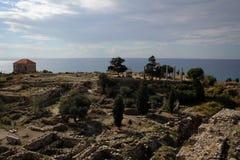 Roman ruins of Byblos, Mediterranean coast, Lebanon stock photography