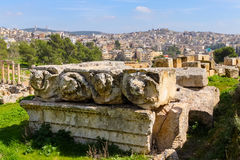 Roman ruins in the city of Jerash. The Roman city of Gerasa and the modern Jerash,  Jordan Stock Photo