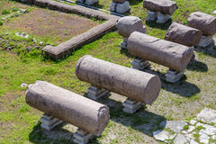 Roman ruins: columns on the ground - Imperial fora, Rome. (Italy stock photography