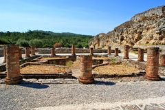 Roman ruins in Conimbriga Royalty Free Stock Photo