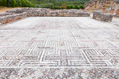 Roman ruins of Conimbriga. Complex and elaborate Roman tessera mosaic pavement Stock Photo