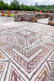 Roman ruins of Conimbriga. Complex and elaborate Roman tessera mosaic pavement in the House of the Swastika Stock Image