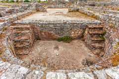 Roman ruins of Conimbriga. Pool in the private Roman Baths of the Cantaber House. Stock Image