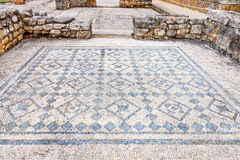 Roman ruins of Conimbriga. Room decorated with monochrome Roman mosaic Stock Photo