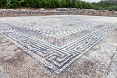 Roman ruins of Conimbriga. Swastikas decorating the Roman mosaics. Royalty Free Stock Photo